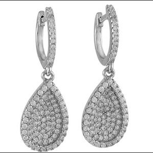 Concave Pavé Cubic Zirconia Teardrop Earrings,NWT